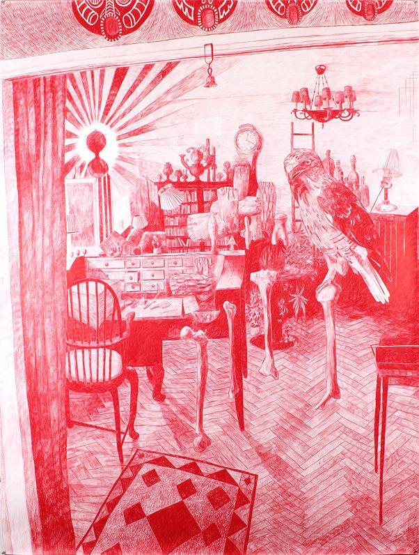 Morten Schelde, 2013, The Memory Palace II, pencil on paper, 200x150 cm