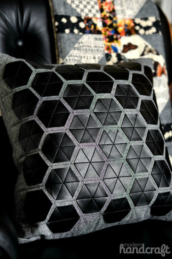 DIY: modern hexagon pillow  (Fabric glue and leather triangles should do the trick)