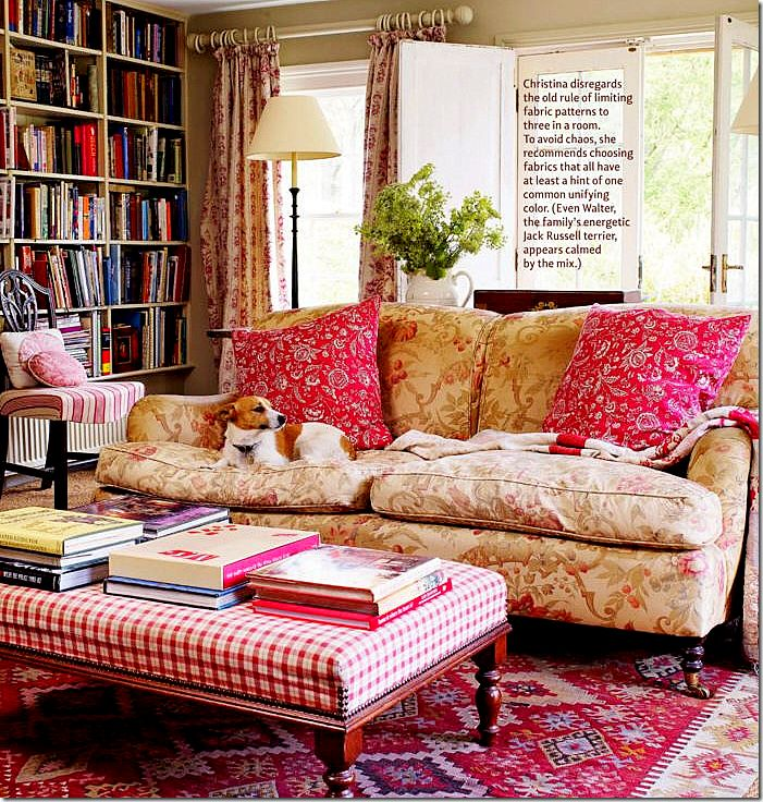 SFH ADDS: Having one of these large benches that doubles like a coffee table, but in fabric, is effective. And, another place for books. This appears to be a library doubling as a living room/sitting room. Comfortable, colorful, restful.