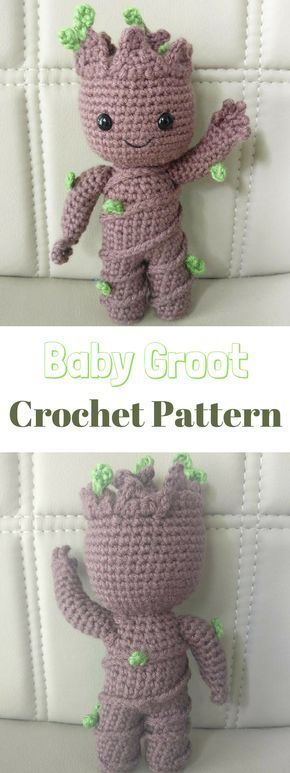 Baby Groot Crochet Pattern #ad #gift #baby #toy #kids #crafts #crochet #crocheting #crochetaddict #crochetlove #disney #marvel #groot #babygroot #guardiansofthegalaxy #crochetpatterns