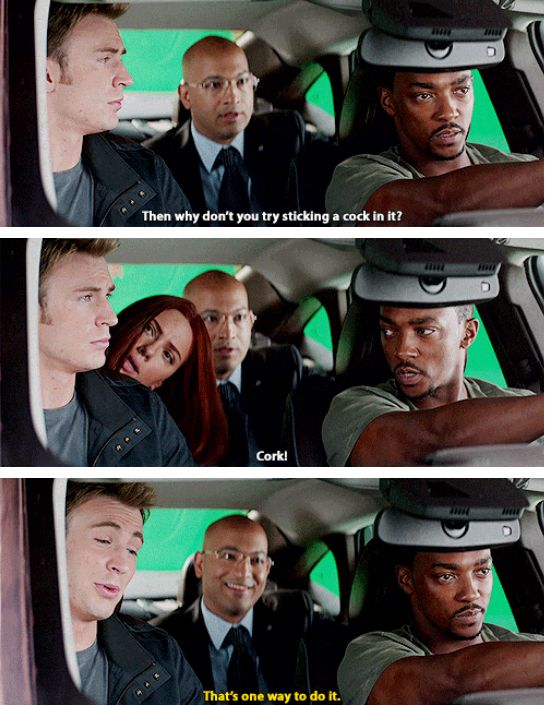 """Scarlett tries to get the boys to keep it clean. (Gag reel, """"Captain America: The Winter Soldier"""")"""