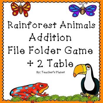 FREE Addition File Folder Game � Rainforest Animals +2 Table  Kids love file folder games! They feel like they are playing a game while working! This FREE game focuses on the + 2 table with the help of some rainforest friends. File folders are great for working individually, with a partner or in math centers.