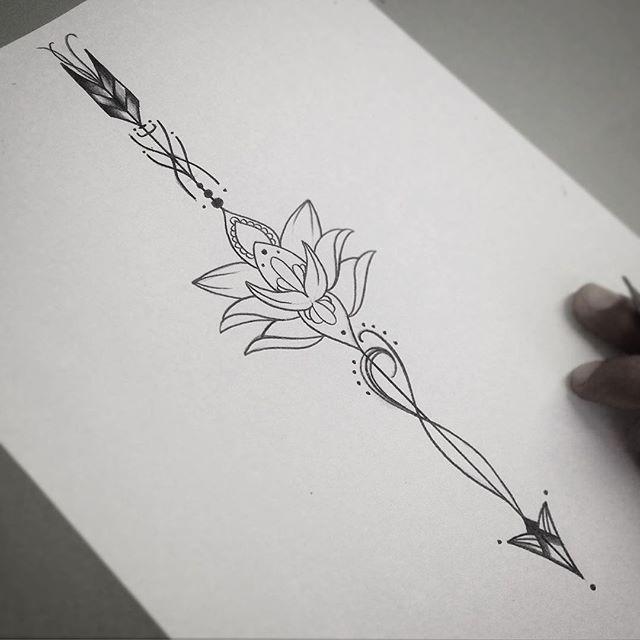 Tassio (snap tassiobacelar): Flecha com flor de lotus bem feminina! #art #flordelotus #flecha #blackwork #finelinetattoo ...