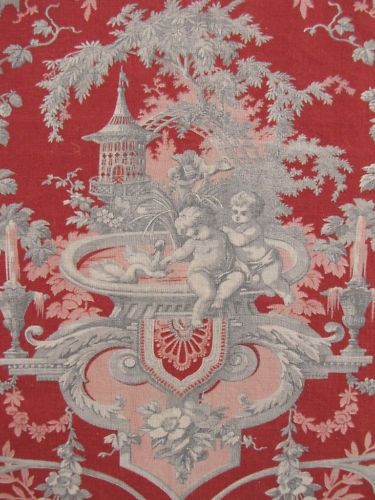 Antique French Fabric Red 19th Century Red Toile | eBay