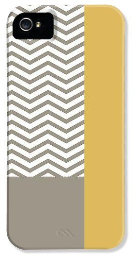 Modern grey and white chevron pattern with a misted yellow colorblock, iPhone 5 Case. $34.99 #faa #fineartamerica