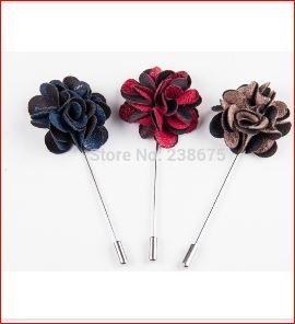 These trendy Lapel pins come in blue, red and coffee colour. Made from fabric shaped into a 3-5 cm flower on a stainless steel pin the pin is truly a classic. Wear a lapel pin on the your suit.  Dress to impress - Make your man a Star   Can be used as a scarf pin for ladies   BUDGET BRIDAL  Price is for one Red pin