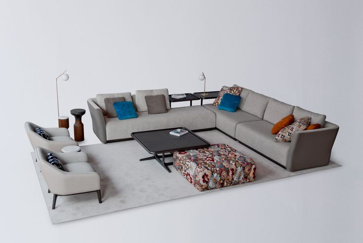 Composicion Sofa modelo 1742.Modulos Base piel nature.Acabado Antracita brillo.Sillones 1743.Piel.Acabado en antracita brillo . Pouff capitone tela.Coleccion Fortune 2017
