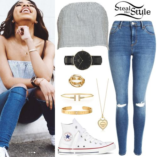 Teala Dunn posted some pictures on instagram today wearing a Brandy Melville Cassidy Top ($18.00), jeans like the Topshop Moto Ripped Sidney Jeans ($75.00), a Daniel Wellington Classic Sheffield Watch ($199.00), the Return To Tiffany Heart Tag Charm and Chain ($1,950.00) and a T-Wire Bracelet with Diamonds ($3,200.00) both from Tiffany, a Love Yellow Gold 1 Diamond Bracelet ($5,300.00) and a Spicy Love Double Ring ($3,500.00) both from Cartier, with Converse Chuck Taylor All Star Hi Sneakers…