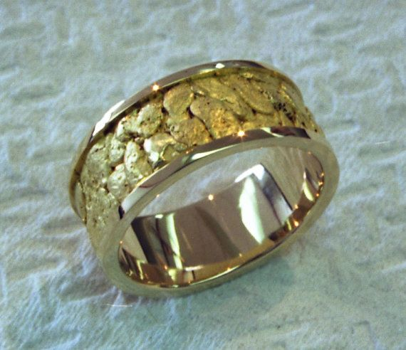 Hand Made 18k yellow gold sluice box ring filled with 23k gold natural placer gold nuggets fused into the 18k gold base ring.