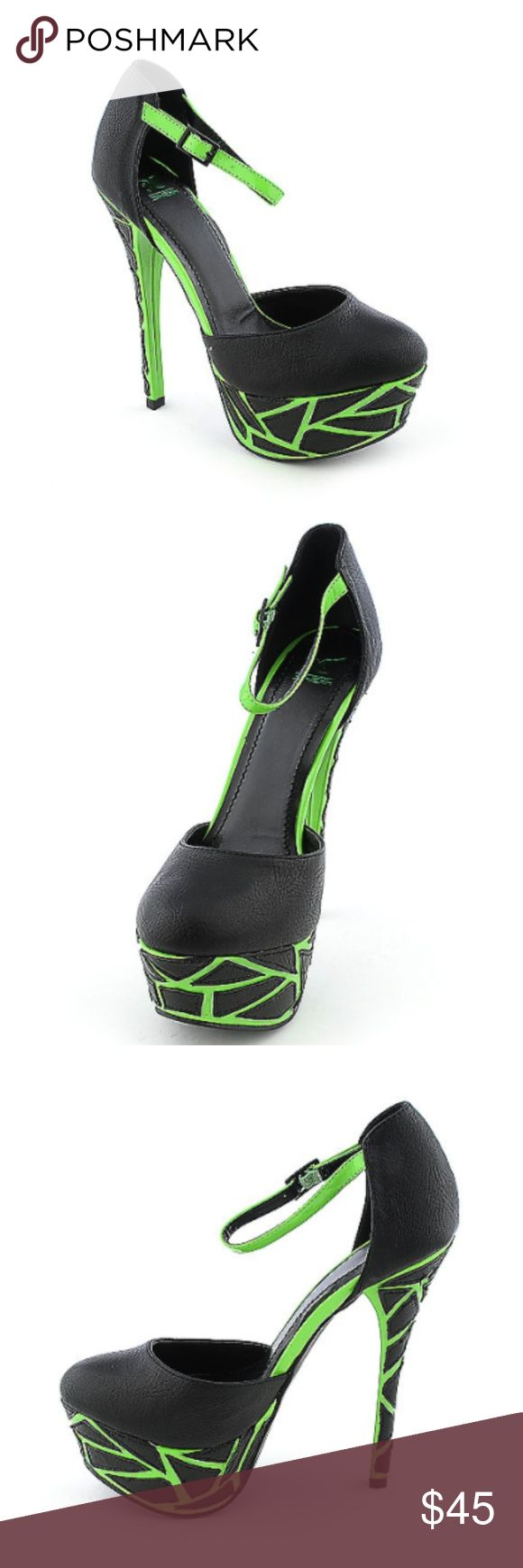 COMING SOON ! black & neon pumps ! PUT IN BUNDLE & ILL SENT YOU AN OFFER WHEN THEYRE HERE !  Take your style to new heights with these high heel platform dress shoes  these black and neon green pairs well with a bold dress. Vegan leather/patent Thin adjustable ankle strap Crackle pattern platform style Patent heel/platform/ankle strap Lightly-cushioned insole Rubber outsole Heel height: 5 ½ in. Platform height: 1 ¾ in. Shoes Heels