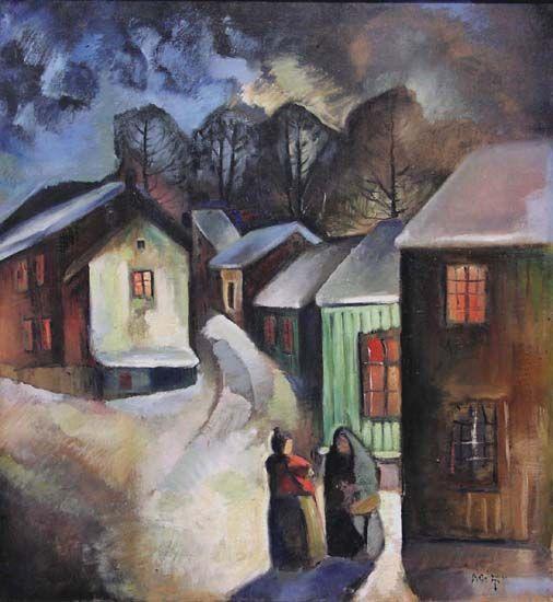 Evening Chatting - Kai Fjell Norwegian 1907-1989