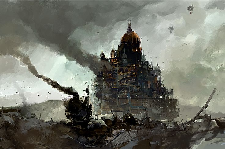 """Art by Ian McQue. Based on Philip Reeve's """"Mortal Engines"""" series of books"""