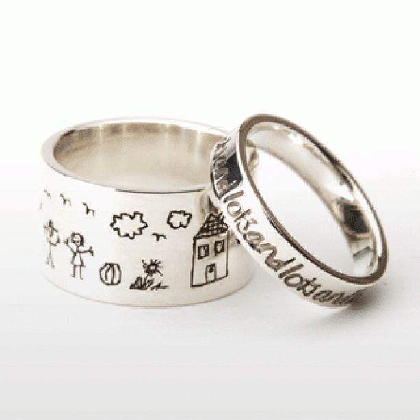 Hoe leuk is dat een ring met een tekening van je eigen kind of een zelf bedachte tekst.