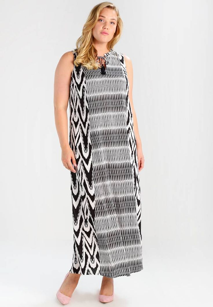 Evans. ZEBRA STRIPE  - Maxi dress - black/white . Outer fabric material:100% viscose. Pattern:animal print. Care instructions:machine wash at 40°C,do not tumble dry,Machine wash on gentle cycle. Neckline:Low V-neck. Sleeve length:sleeveless. Back ...