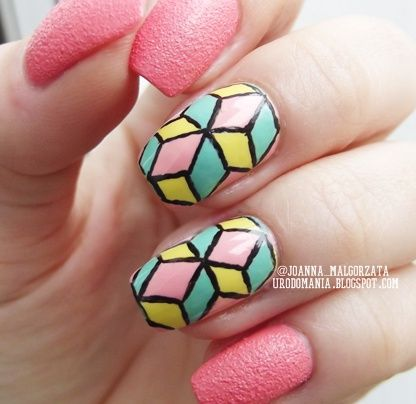 geometric nails #nails #nailsart #geometricnails #springnails #summernails