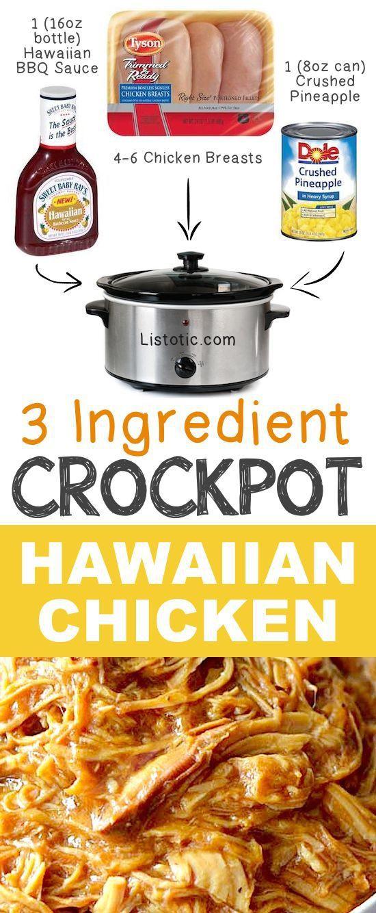 #12. 3 Ingredient Crockpot Hawaiian Shredded Chicken   12 Mind-Blowing Ways To