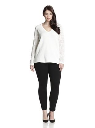 74% OFF Cotton Addiction Plus Women's Open Stitch V-Neck Sweater (White)