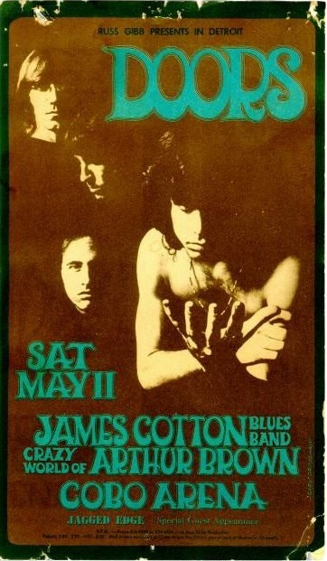 By Gary Grimshaw, The Doors Concert Poster, Detroit.