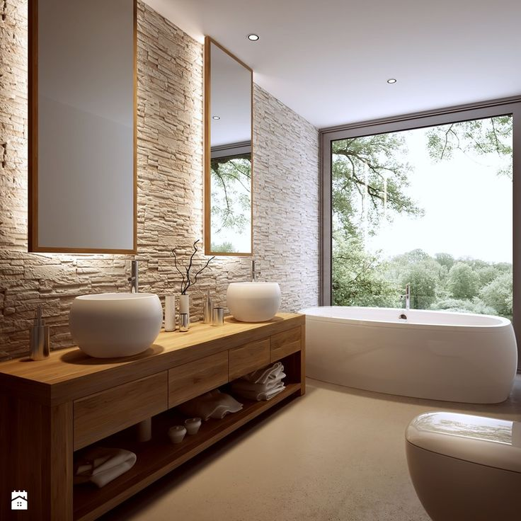 This #bathroom is absolutely beautiful! Look at that view! Click the picture to see the bin we think would complete the perfection! #InteriorDesign #Interiors #Decor