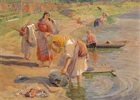 Women washing clothes at a river bank by Fedot Vasilievich Sychkov