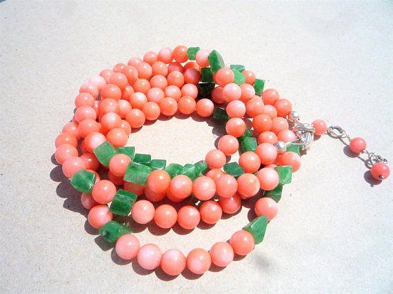 Gemstone necklace/bracelet, Coral necklace,Coral and Aventurine bracelet/necklace,Coral and green necklace,Coral and green bracelet,