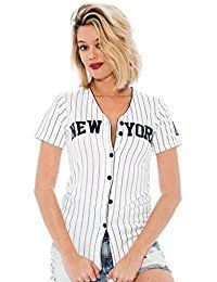 New True Rock Jr Women's Fitted New York Pinstripe Baseball Jersey online. Find the perfect Tiger Hill Tops-Tees from top store. Sku PFHB91029EVFM94804