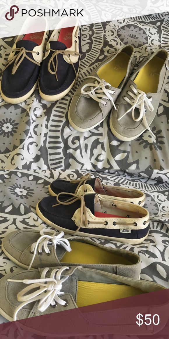 💙 Vans Boat Shoes 💙 Hardly used Vans boat shoes for women! Grey are a size 6.5 and blue are a size 7 💙 They are great for summer and very comfy, no socks needed! Each are $25! Will sell together or separately 😊 Vans Shoes