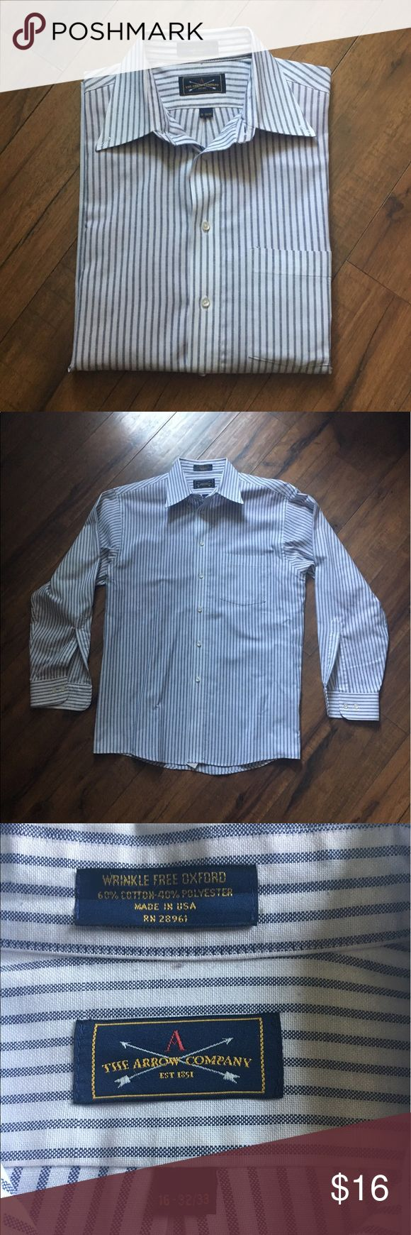 """🔥Arrow long sleeve dress shirt, button down The Arrow Company white/blue striped long sleeved dress shirt.  Excellent condition-like new, except that the dry cleaners marked the inside of the button row with pen (see pic) its not visible from the outside of the shirt.  Neck size 16, sleeve length: 32/33, length: 29"""", armpit to armpit: 23""""                                                                                                      👕 Check out more mens shirts in my closet 👕…"""