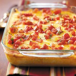 Cheesy Chili Casserole Recipe - 1 serving (1 piece) equals 304 calories, 21 g fat (14 g saturated fat), 125 mg cholesterol, 538 mg sodium, 9 g carbohydrate, trace fiber, 18 g protein.