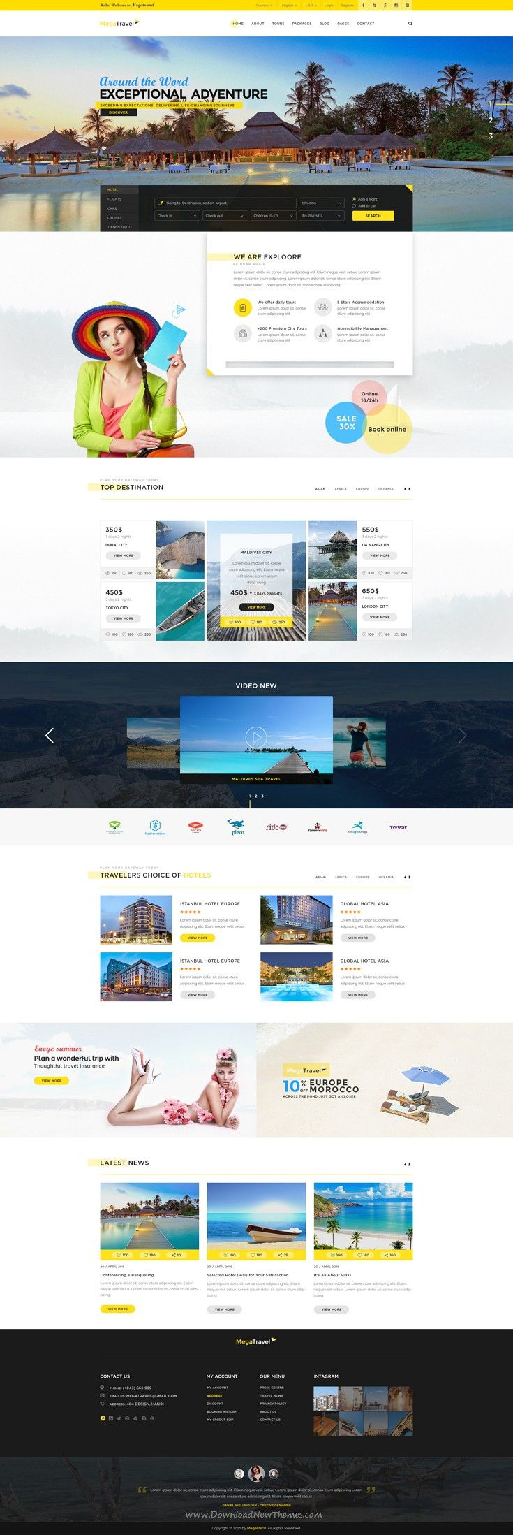MegaTravel a clean and professional #PSD #Template is specially designed for travel agency, tour operator and #travel blog.
