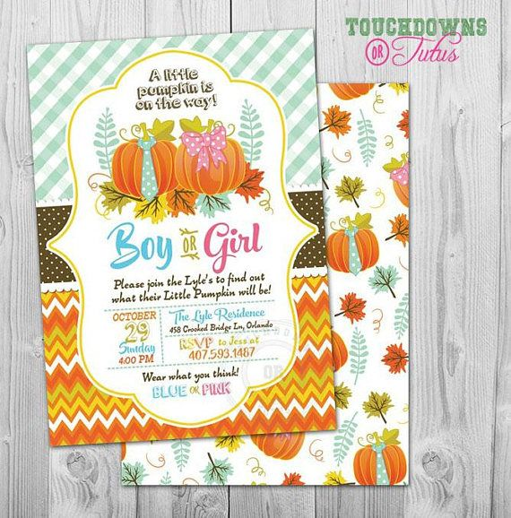 Little Pumpkin Gender Reveal Party Invitations and Ideas for Halloween Gender Reveal Party. #littlepumpkininvitation #halloweengenderreveal