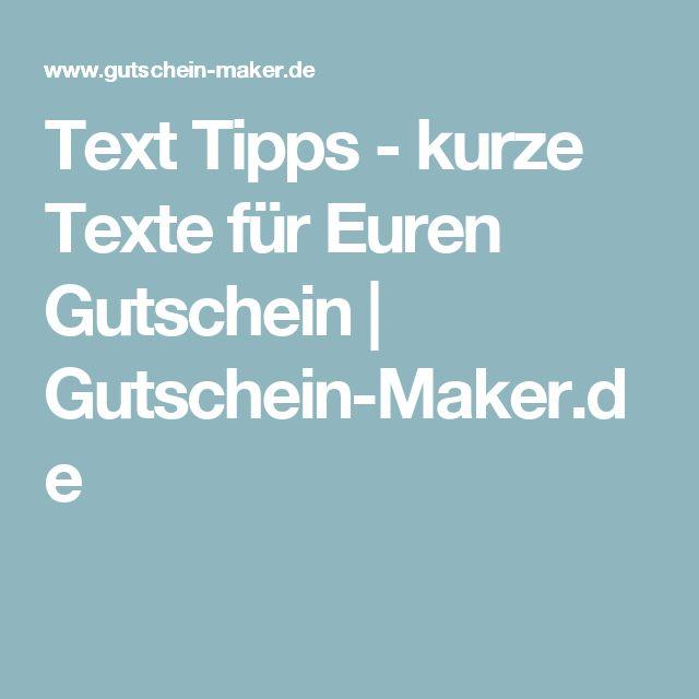 Text Tipps - kurze Texte für Euren Gutschein | Gutschein-Maker.de