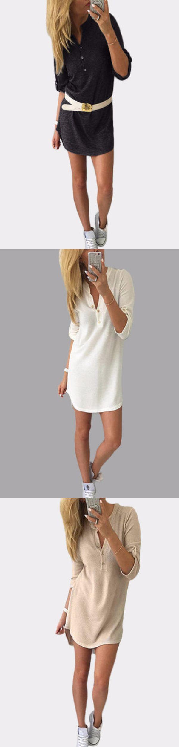 Белое платье с длинными рукавами с длинными рукавами 1 076 руб. В этом сезоне работайте над этой замечательной мини-одеждой. Он украшен длинными рукавами и дизайном кнопок. Нам это нравится спортивная обувь. - Casual style - V-образный вырез - Длинные рукава - Дизайн кнопок - Мини-длина - Обычная посадка - Ручная стирка - Ткань: 60% Хлопок, 40% Полиэстер - Содержание пакета: 1 * Платья