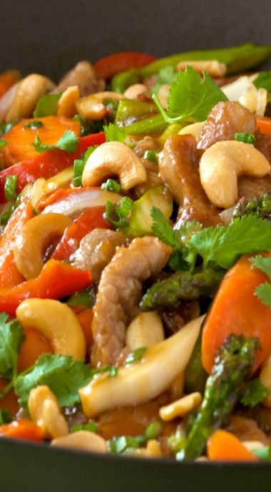 Pork Tenderloin & Cashew Stir Fry ~ The pork is quickly seared, resulting in the most tender, melt-in-your-mouth meat you can imagine.