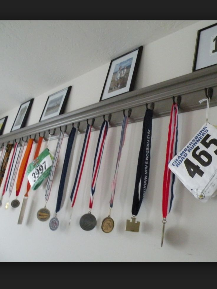 Race medals and bib display