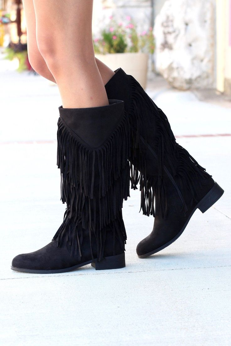 City Girl Layered Fringe Riding Boots {Black}