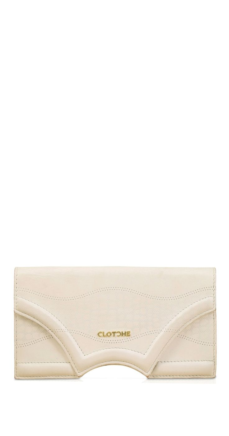 """Briana Natural White Print Clutch by Rock N Shop Our new Classic Briana Clutch -Defined by a clean, versatile shape punctuated with our iconic """"""""C"""""""" CutFeaturing Tailored embossing with Chic classic styleInterior pockets , Credit Card slots and Mobile pocket Color: Natural White Material : Calf Leather Lining : Suede Tailored embossing Interior pockets , Card slots and Mobile pocket"""