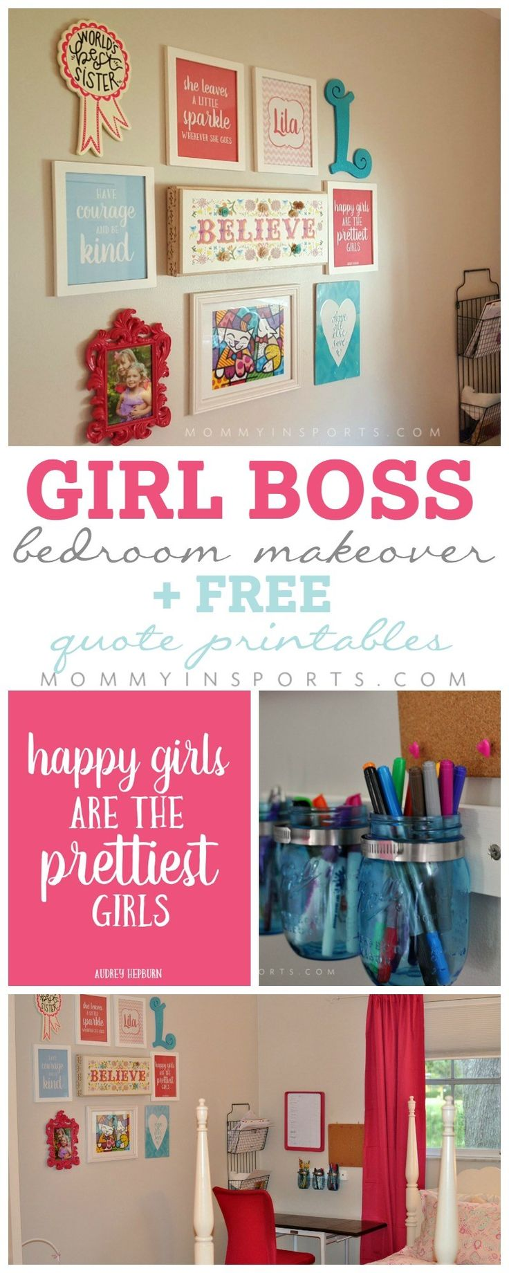 Is your daughter looking for a big girl room? Try this girl boss makeover with FREE quote printable pack! Perfect to inspire your budding tween! All quotes pictured are included PLUS more!