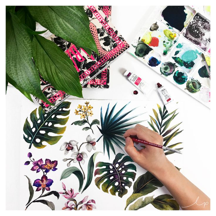 We're using stunning fresh leaves in the studio as reference to hand paint from in traditional gouache. We can't wait to see these super beautiful motifs in the collection.