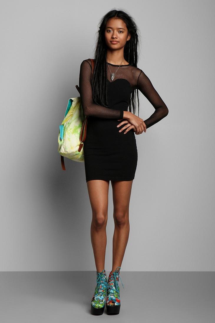 Vintage '80s Black Mesh Mix Dress #urbanoutfitters #vintage