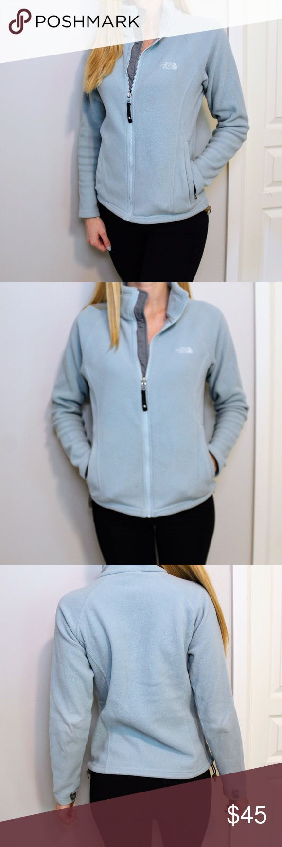 """North Face // Light Blue Zip Up Fleece North Face // Light Blue Zip Up Fleece   Good used condition   DETAILS 100% polyester Two front zippered pockets Adjustable elastic drawstring along waist seam   SIZING Size small Sleeve 19"""" Length 22"""" Bust 38""""   Let me know if you have questions! North Face Jackets & Coats"""