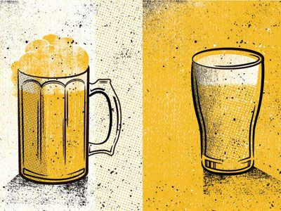 Beer / Pint Glass. Great use of half tones, detail, and only 3 colors.