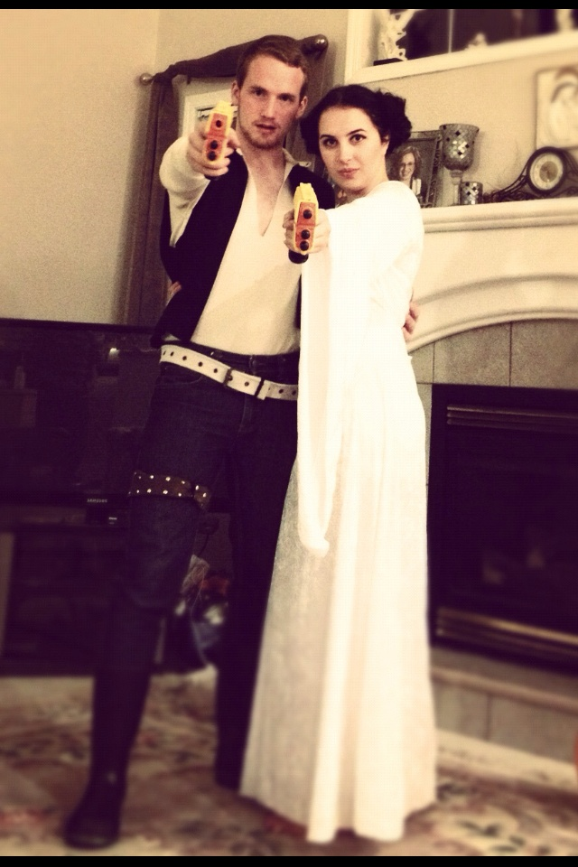 Leia is really easy. Get a white dress or a cheap bed sheet. Cut a hole in the center of the sheet for the head. Use a belt around ur waist to have it fit your body like a dress. Wear a white tshirt and black or brown tights underneath. Han: black skinny jeans, white belt, white shirt, black vest (or find a black button up and cut the sleeves off).