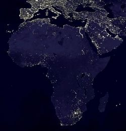 Poverty in Africa - Map of the places connected to electricity networks