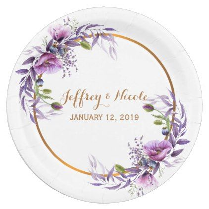 Violet Lavender Poppy Watercolor Flower Wedding Paper Plate - floral style flower flowers stylish diy personalize