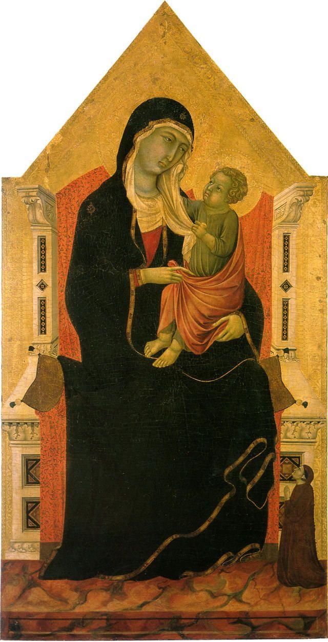 Уголино ди Нерио. Мадонна с младенцем и донатором. Сан Кашано валь ди Пеза.