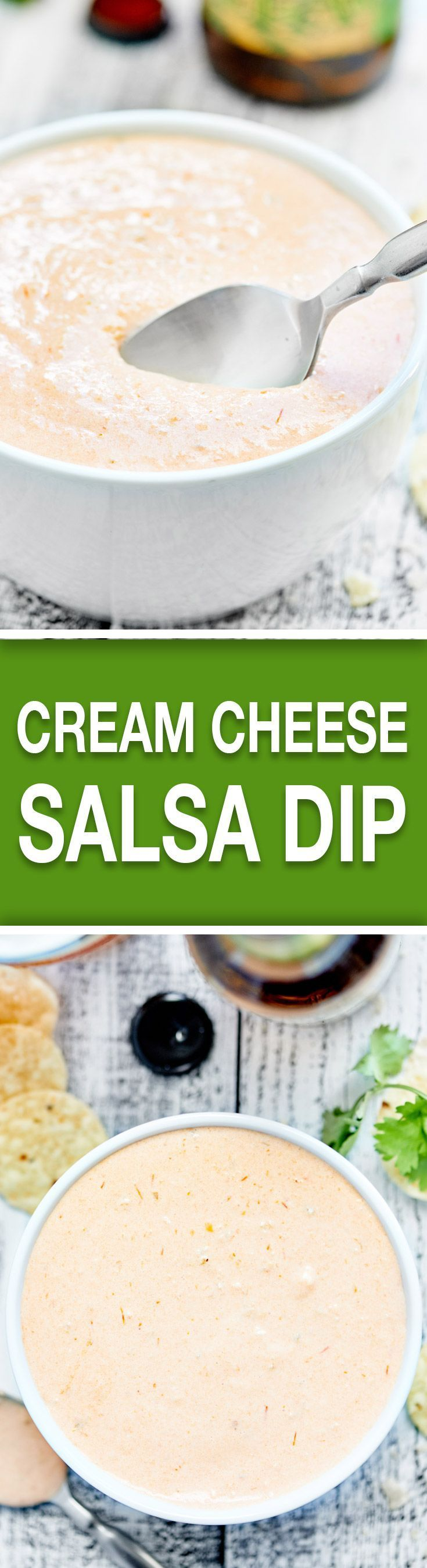 This Cream Cheese Salsa Dip requires two ingredients and 30 seconds of prep! It's addicting, it's creamy, it's so easy, and the spice level is up to you! http://showmetheyummy.com #creamcheese #salsa #snack
