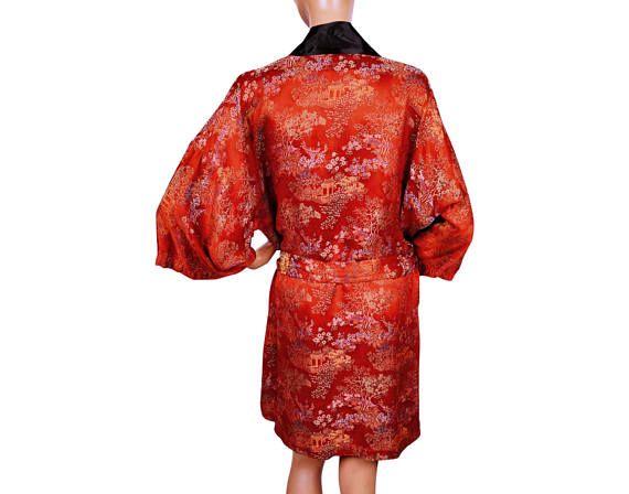 Vintage Chinese Rode badjas loungen Robe Kimono Unisex 1960s