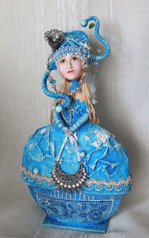 """Купить Кукла-шкатулка """"Снежная королева"""" - авторская кукла, эксклюзивный подарок, оригинальный подарок"""