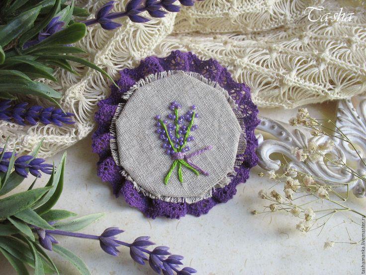 "Купить ""Аромат лаванды"" бохо брошь цветок сиреневый фиолетовый - брошь цветок, брошь,брошь boho chic boho jewelry boho brooch brooch textile"